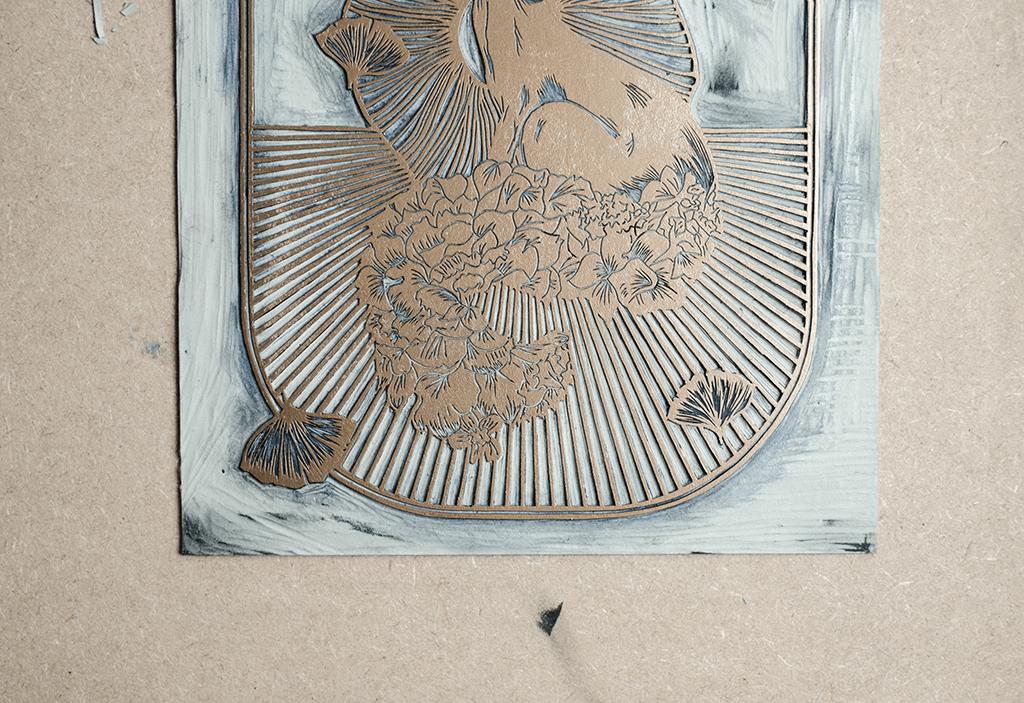 Astronut — Designatelier für Design & Illustration | Andreas Stoessel – Lino Print – Growth Detail