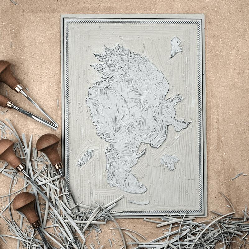Astronut — Designatelier für Design & Illustration | Andreas Stoessel – Lino Print – Lumina - Work in Progress